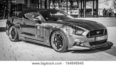 STUTTGART GERMANY - MARCH 18 2016: Muscle car Ford Mustang GT 550 Aero Edition 2016. Black and white. Europe's greatest classic car exhibition