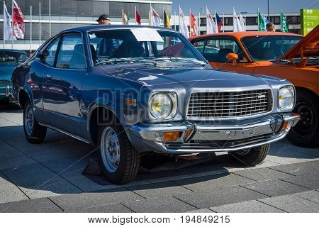 STUTTGART GERMANY - MARCH 18 2016: Mid-size car Mazda Grand Familia (Mazda 818 Coupe De Luxe) 1976. Europe's greatest classic car exhibition
