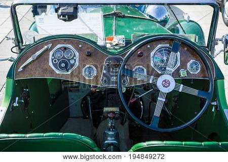 STUTTGART GERMANY - MARCH 18 2016: Cabin of a sports car MG PA 1935. Europe's greatest classic car exhibition