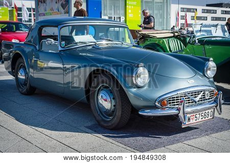 STUTTGART GERMANY - MARCH 18 2016: Sports car Daimler Dart SP 250 Hardtop 1961. Europe's greatest classic car exhibition