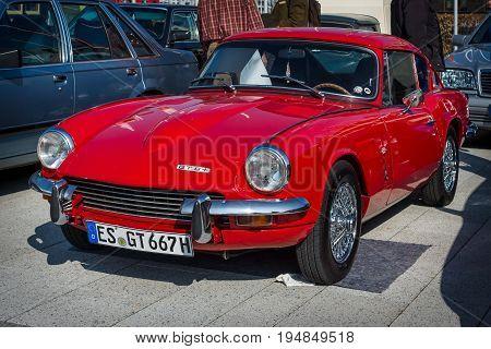 STUTTGART GERMANY - MARCH 18 2016: Sports car Triumph GT6 Mk II 1968. Europe's greatest classic car exhibition
