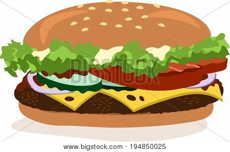 Vector drawing of hamburger with cheese, tomatoes, chop, lettuce, onion, cucumber. Illustration for design fast food menu. Hamburger isolated icons. Hamburger illustration.