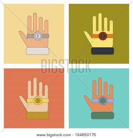 assembly of flat icons Kids toy bracelet hand