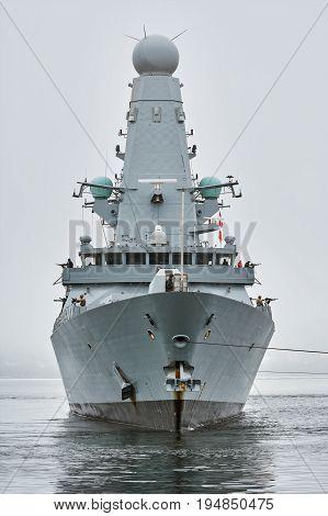 VARNA BULGARIA - April 29 2017: Her Majesty's Ship Daring During the Visit of Varna Port