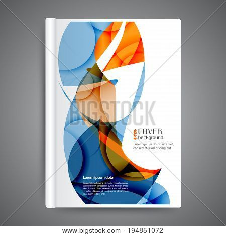 Abstract template book cover with abstract lines and waves