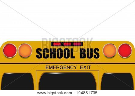 Back of school bus isolated on the white background. Free place for your text is on the upper side of the vector.