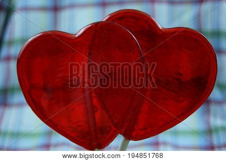 Two Red Candy Heart Suckers for Valentines
