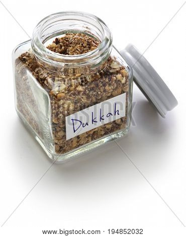homemade dukkah in a jar, egyptian condiment