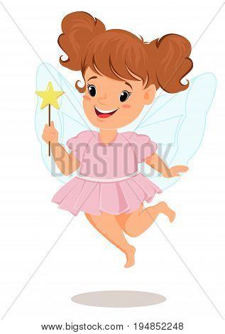 Fairy girl in pink dress with magic wand. Cute little child cartoon character - stock vector