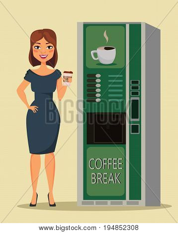 Business woman standing with cup of coffee close to coffee vending machine. Vector illustration