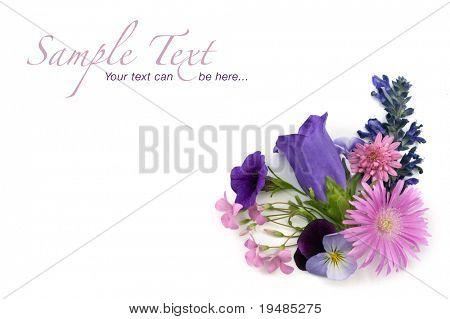 floral background corner design element of various flowers