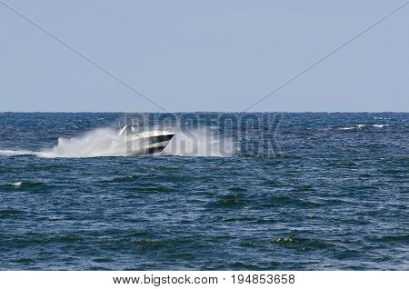 LUXURY BOAT - Fast boat on a cruise on the sea