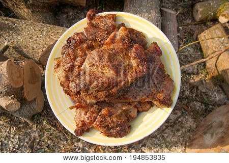 Juicy Pork Steaks Cooked On An Open Flame Grill On Big White Plate..