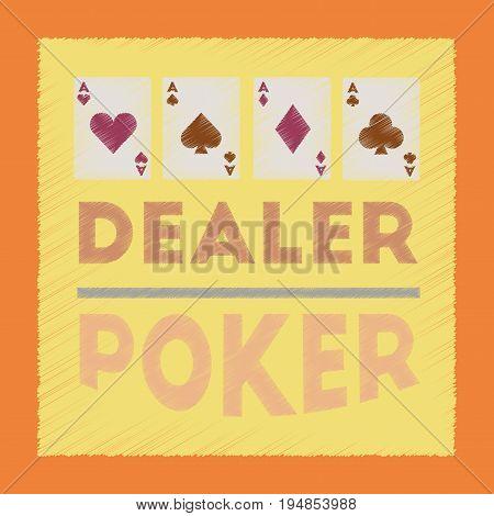 flat shading style icon poker casino dealer