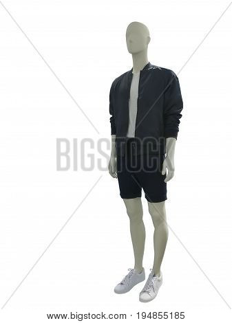 Full-length male mannequin dressed in casual clothes isolated on white background. No brand names or copyright objects.