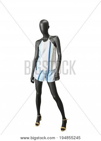 Full-length female mannequin dressed in fashionable summer clothes. Isolated on white background. No brand names or copyright objects.