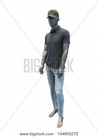 Full-length male mannequin dressed in t-shirt and blue jeans isolated on white background. No brand names or copyright objects.