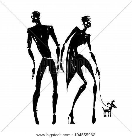 Silhouettes of woman and man. Couple with a dog. Hand drawn Vector illustration.