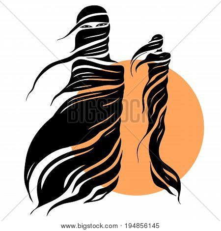 Abstract silhouettes of east girl. Beautiful Muslim woman. Vector Fashion illustration. White background