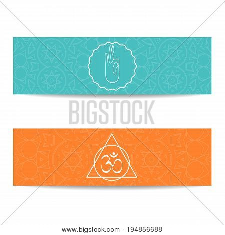 Yoga class template. Set of horizontal orange and turquoise flyers with chakra and mandala symbols. Design for yoga class, studio, spa, center, classes, invitation, gift certificate and presentation