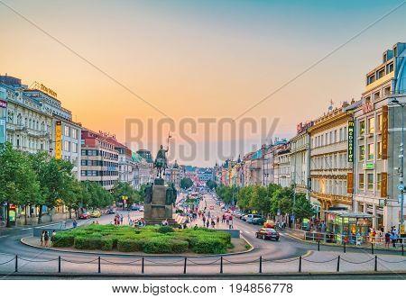 Wenceslas Square, Evening View. Prague, Czech Republic