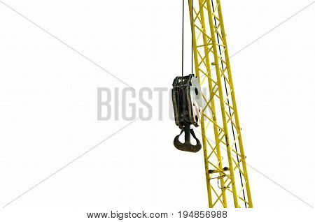 Crane hook. Partially isolated on white background. Construction crane hook.