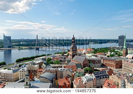 Aerial view of Riga in summer Latvia