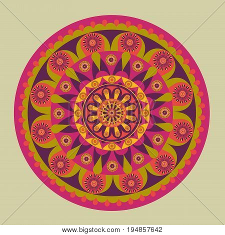 Illustration of colorful mandala design pattern on a grey background.
