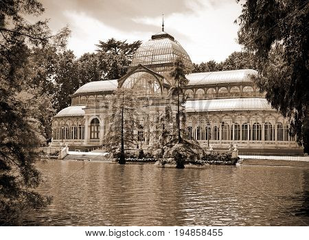 Cristal palace in old park Retiro in Madrid