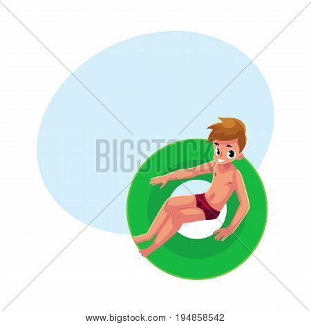 Teenage boy, teenager swimming on floating inflatable ring, top view cartoon vector illustration with space for text. Teen boy, teenager floating on inflatable ring in swimming pool