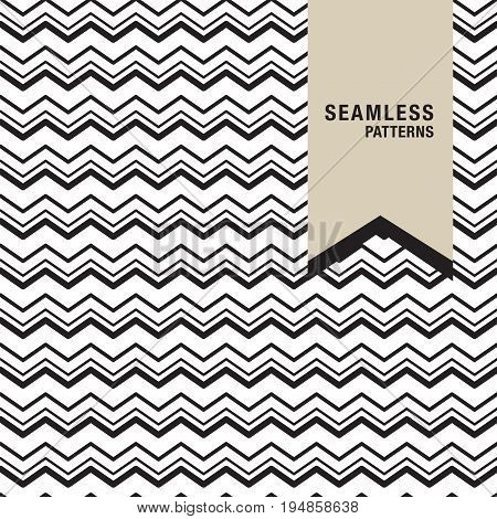 Zig Zag pattern - seamless background. Black and white mosaic texture. It can be used in printing packaging website backdrop and fabric design.