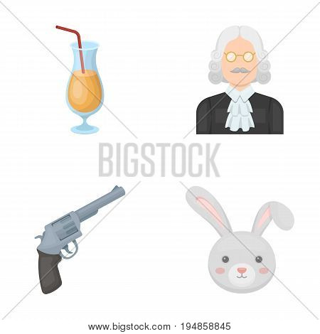 mouth, alcohol and other  icon in cartoon style.Justice, animal icons in set collection.