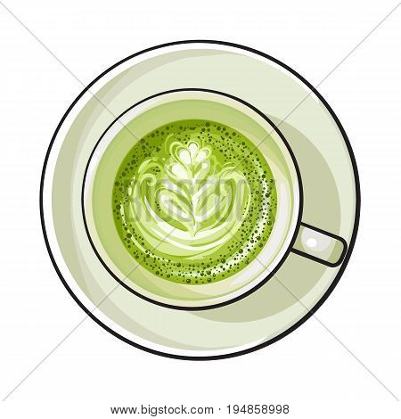 Hand drawn matcha green tea latte, cappuccino drink, top view sketch vector illustration isolated on white background. Hand drawn cup of matcha tea latte drink, top view illustration