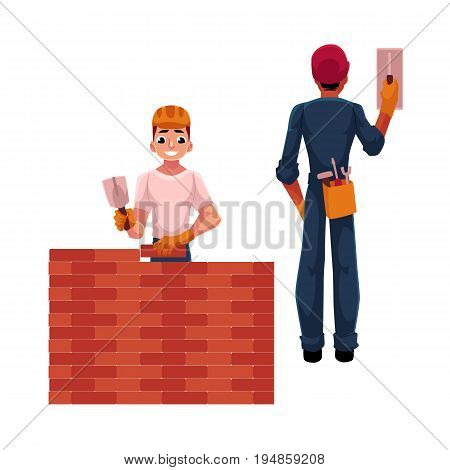 Two construction workers - builder and electrician, cartoon vector illustration isolated on white background. Two construction site workers, one building another switching contact breaker
