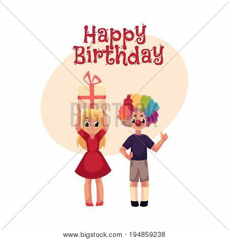 Happy birthday vector greeting card, poster, banner design with Kids, boy in clown wig and red nose, girl holding birthday gift. Two kids, boy and girl, birthday party, with clown nose, hair and gift