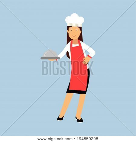 Female chef cook character in red apron holding platter cloche vector Illustration on a light blue background