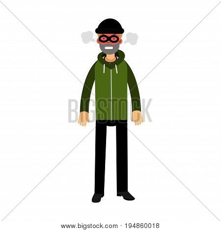Angry robber character with red face under mask and steam coming out of the ears vector Illustration on a white background