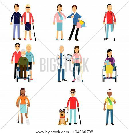 Disabled men and women characters getting medical treatment, health care assistance and accessibility vector Illustrations isolated on white background