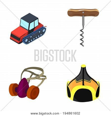 Tractor, corkscrew and other  icon in cartoon style. protective mask, Mongolian helmet icons in set collection.