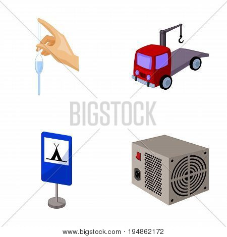 Tube, forklift and other  icon in cartoon style.road sign, power unit icons in set collection.