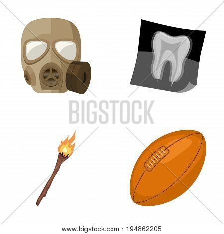 Gas mask, X-ray and other  icon in cartoon style. torch, rugby ball icons in set collection.