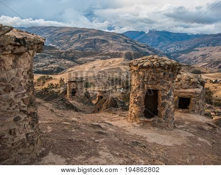Funerary towers in Ninamarka archeologic zone in Cusco Peru