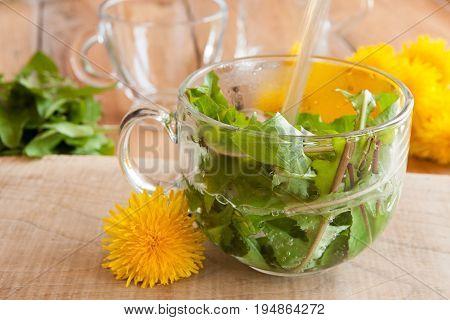 Preparing Dandelion Tea By Pouring Hot Water Over Dandelion Leaves