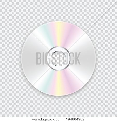 CD disk on a transparent background. A realistic compact disc. Vector illustration.