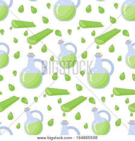 Aloe vera gel vector seamless pattern Flat design of alternative medicine cosmetology and healthcare wallpaper on white background cute vector illustration