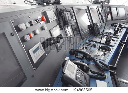 Ship control panel in  captain's bridge