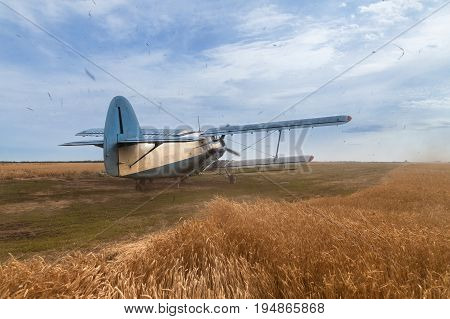 Agricultural plane begins to accelerate before take off	Plane stands on a wheat field. Propeller is rotating and making strong wind and loud noise. A lot of dust is in the air.  Blue cloudy sky is in the background.