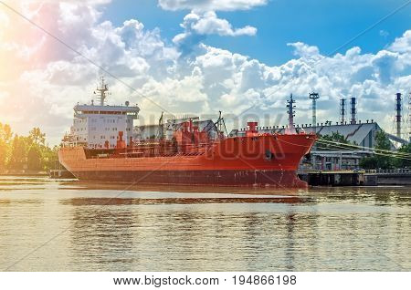 Bulk carrier in port. Ship loading in the port trucking