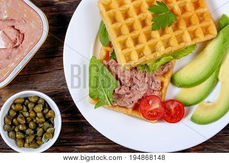 Waffles Sandwich With  Liver Pate And Avocado