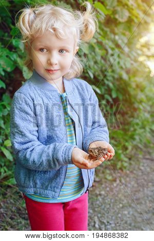 Portrait of cute adorable Caucasian blonde child girl holding small forest frog toad